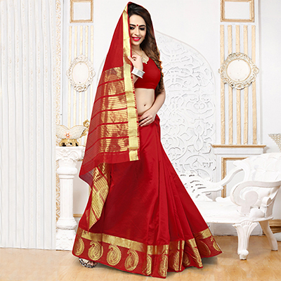 Red Weaving Silk Festive Wear Saree