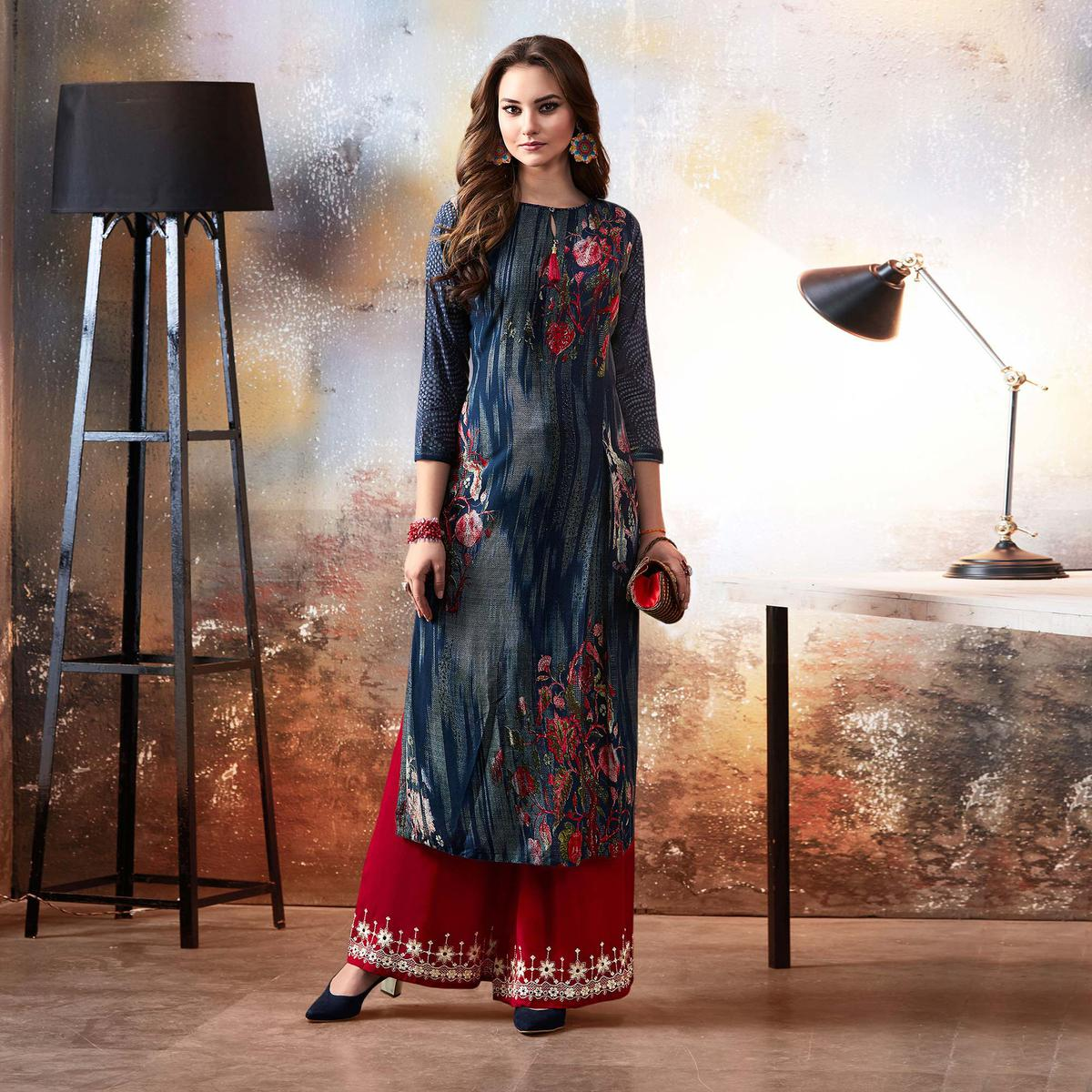 Classy Blue Designer Embroidered & Printed Rayon Palazzo Suit