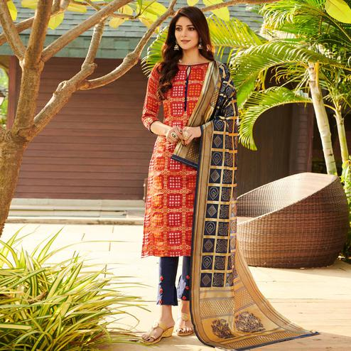 Mesmerising Red Colored Festive Wear Woven Jacquard Silk Dress Material