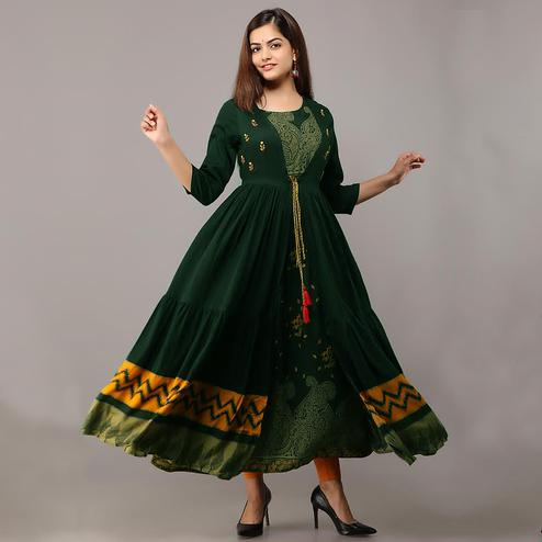 Ethnic Green Colored Partywear Koti Style Rayon Kurti