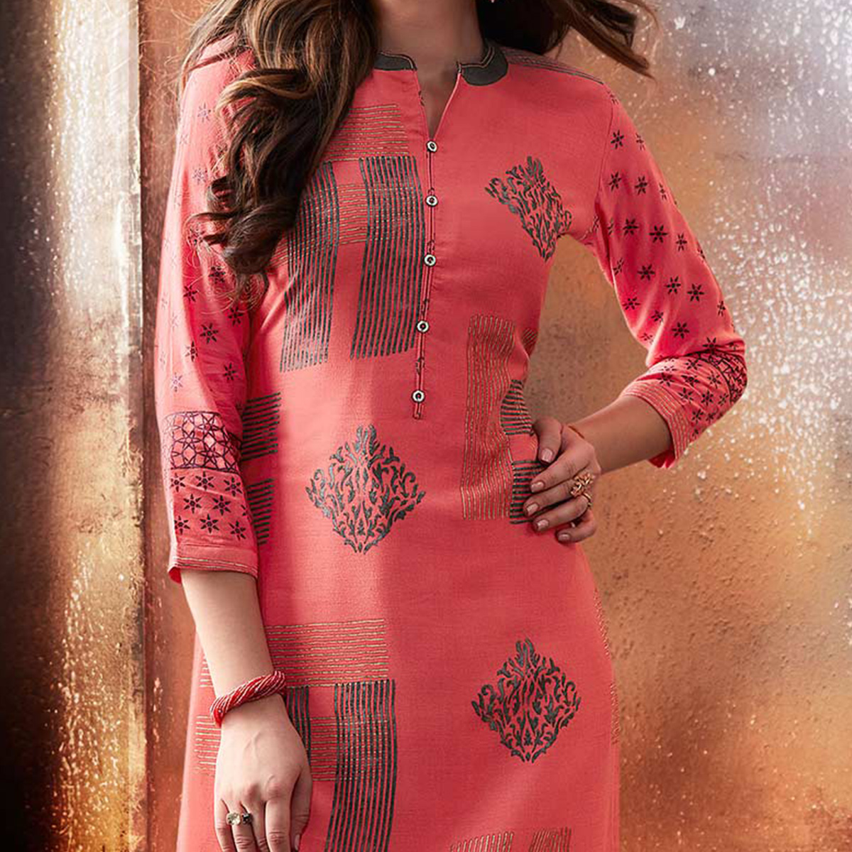 Gorgeous Pink Designer Embroidered & Printed Rayon Palazzo Suit