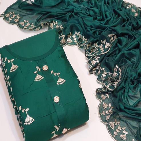 Trendy Dark Green Colored Festive Wear Cotton Dress Material