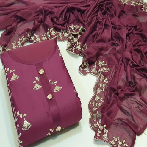 Elegant Wine Colored Festive Wear Cotton Dress Material