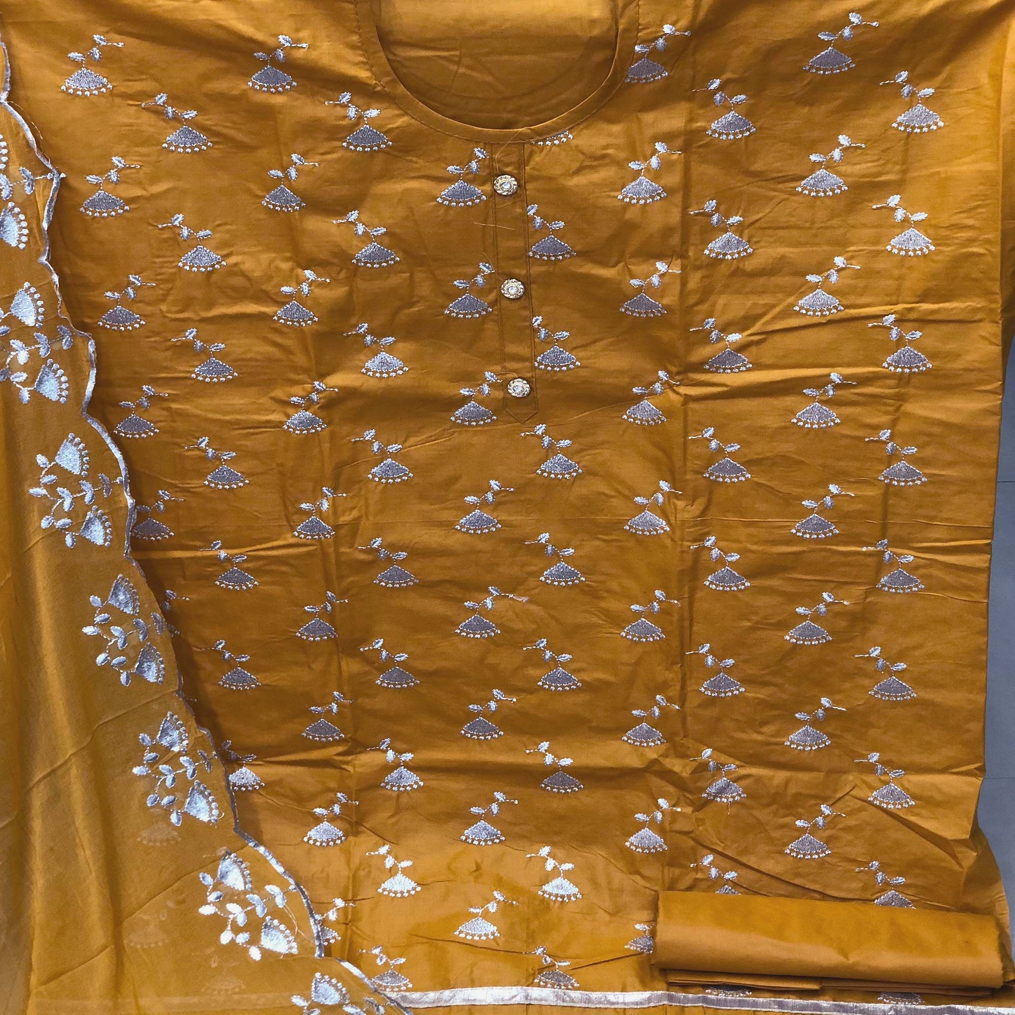 Pleasant Mustard Yellow Colored Festive Wear Cotton Dress Material