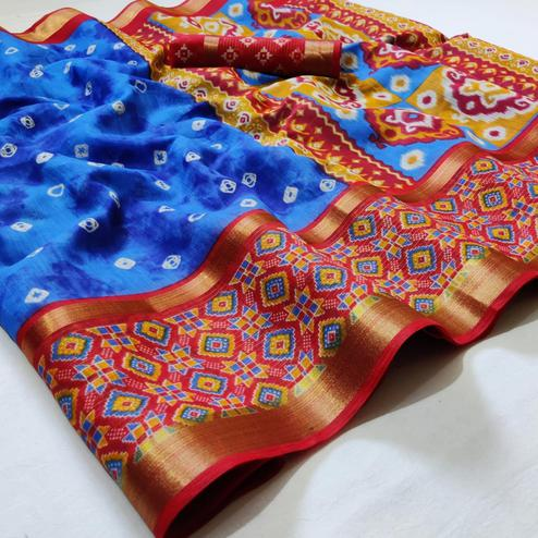 Hypnotic Blue Colored Casual Wear Printed Cotton Saree