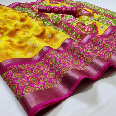 Excellent Yellow Colored Casual Wear Printed Cotton Saree