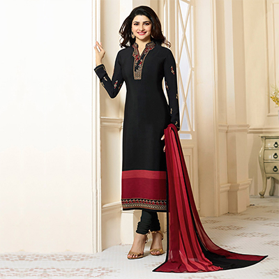 Stunning Black Designer Embroidered Crape Salwar Suit