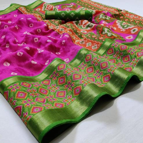 Preferable Dark Pink Colored Casual Wear Printed Cotton Saree