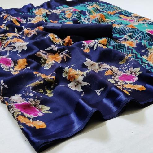 Marvellous Blue Colored Casual Wear Floral Printed Linen Saree