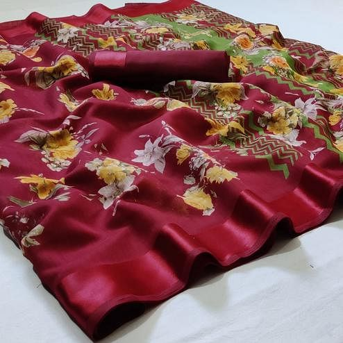 Pretty Red Colored Casual Wear Floral Printed Linen Saree