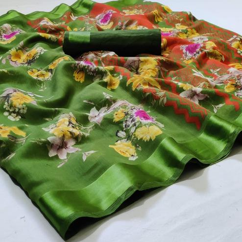 Alluring Green Colored Casual Wear Floral Printed Linen Saree