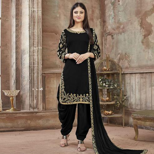 Sensational Black Colored Partywear Embroidered Georgette Patiala Suit