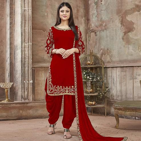 Stunning Red Colored Partywear Embroidered Georgette Patiala Suit