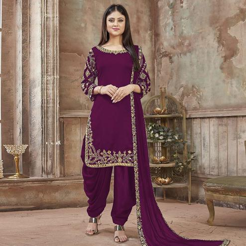 Classy Purple Colored Partywear Embroidered Georgette Patiala Suit