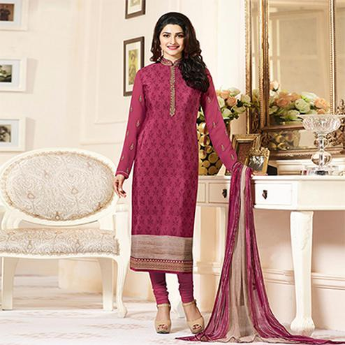 Graceful Pink Designer Embroidered Crape Salwar Suit