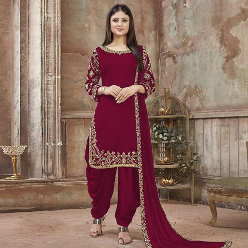 Prominent Maroon Colored Partywear Embroidered Georgette Patiala Suit