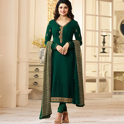 Gorgeous Green Designer Embroidered Crape Salwar Suit