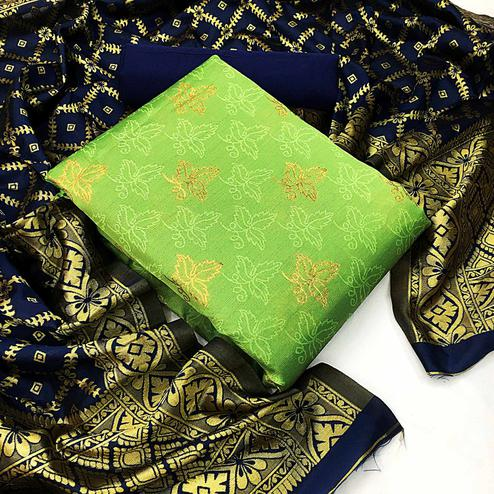 Amazing Light Green Colored Festive Wear Woven Banarasi Silk Dress Material