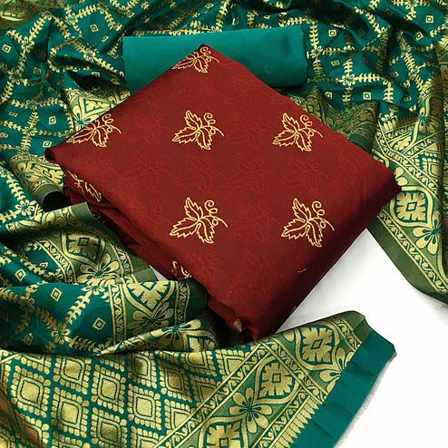Gorgeous Maroon Colored Festive Wear Woven Banarasi Silk Dress Material