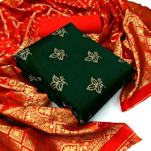 Blissful Green Colored Festive Wear Woven Banarasi Silk Dress Material