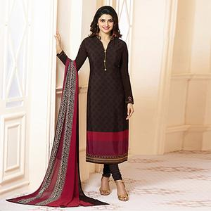 Elegant Brown Designer Embroidered Crape Salwar Suit