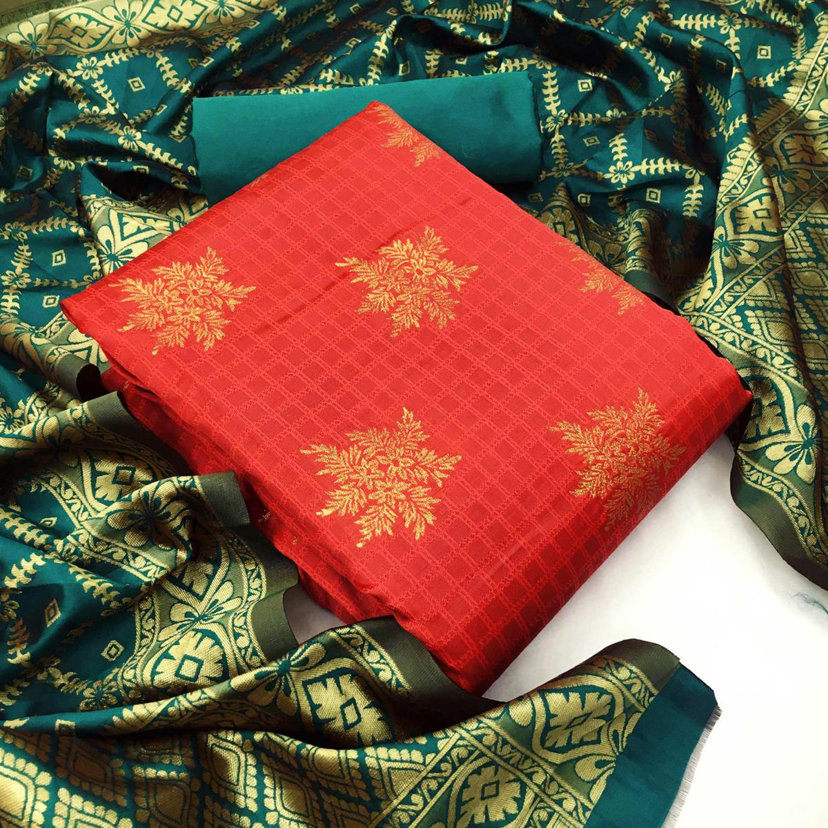 Lovely Red Colored Casual Wear Woven Banarasi Silk Dress Material