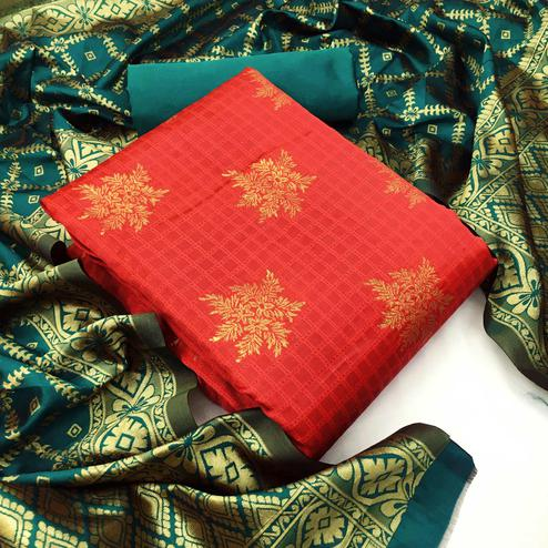 Lovely Red Colored Festive Wear Woven Banarasi Silk Dress Material