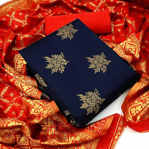Majesty Navy Blue Colored Festive Wear Woven Banarasi Silk Dress Material