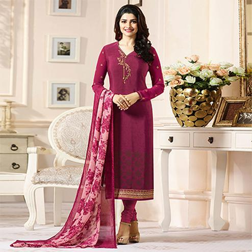 Lovely Pink Designer Embroidered Crape Salwar Suit