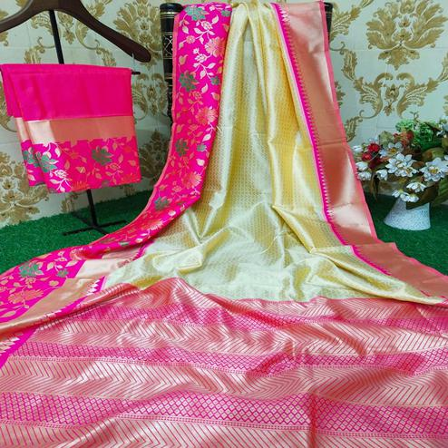 Adorable Chiku Colored Festive Wear Woven Soft Lichi Silk Saree