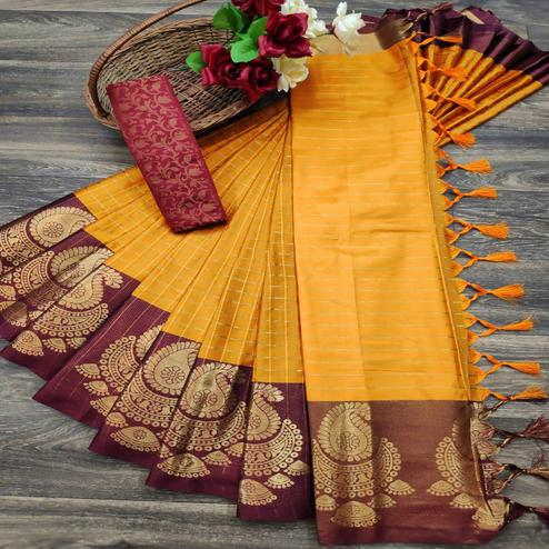 Glorious Orange Colored Festive Wear Woven Soft Cotton Silk Saree