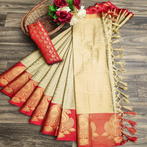 Attractive Chiku Colored Festive Wear Woven Soft Cotton Silk Saree