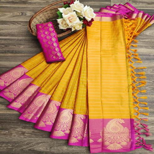 Beautiful Yellow Colored Festive Wear Woven Soft Cotton Silk Saree