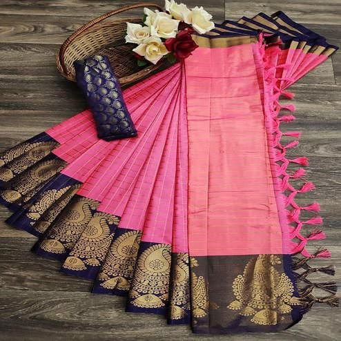 Graceful Gajari Pink Colored Festive Wear Woven Soft Cotton Silk Saree