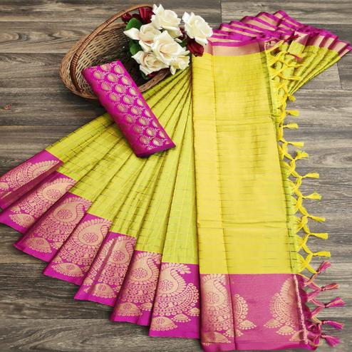 Blooming Lemon Yellow Colored Festive Wear Woven Soft Cotton Silk Saree