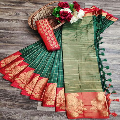 Charming Green Colored Festive Wear Woven Soft Cotton Silk Saree