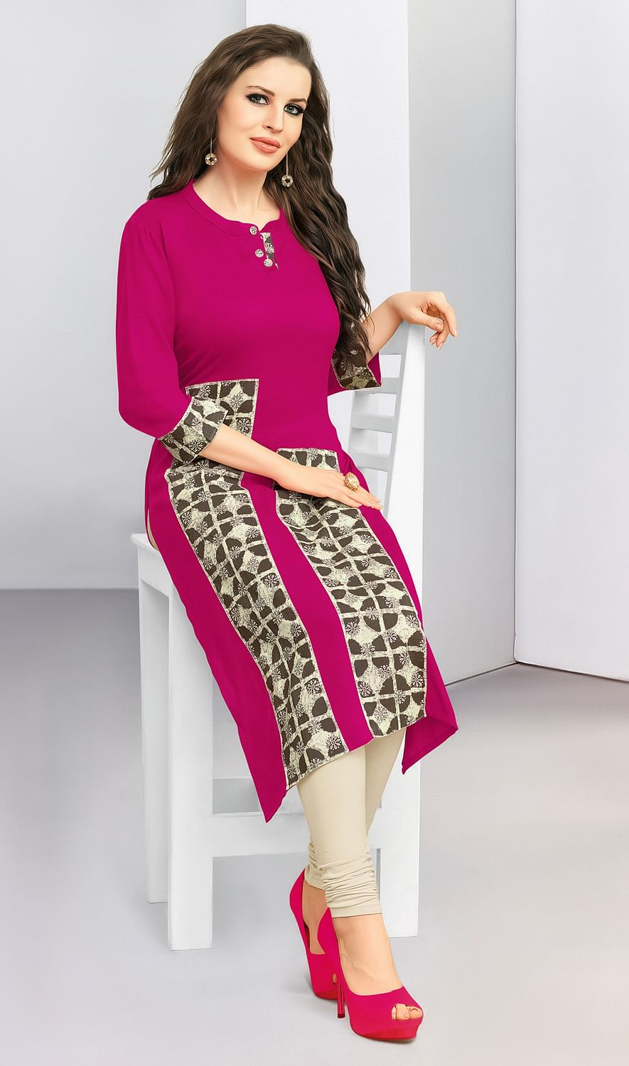Trendy Pink Designer Casual Wear Cotton Kurti
