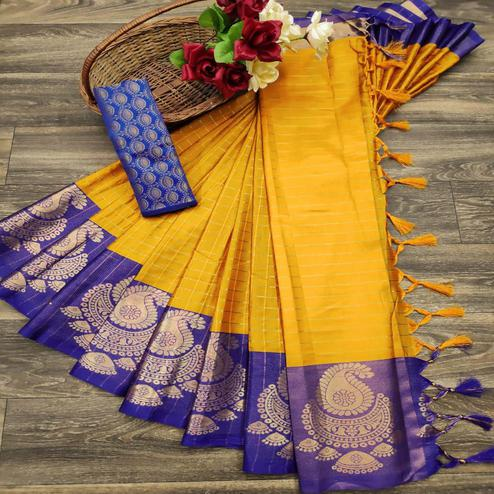Innovative Yellow Colored Festive Wear Woven Soft Cotton Silk Saree