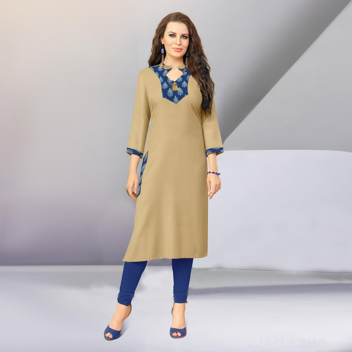 Graceful Beige Designer Casual Wear Cotton Kurti