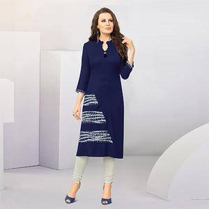 Charming Navy Blue Designer Casual Wear Cotton Kurti