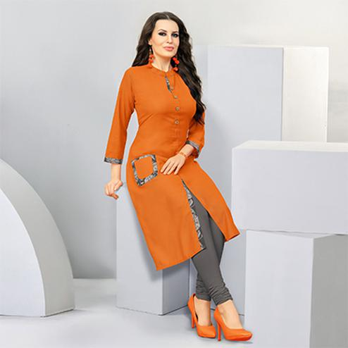 Attractive Orange Colored Designer Casual Wear Cotton Kurti