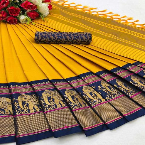 Pleasant Gold Colored Festive Wear Woven Cotton Silk Saree