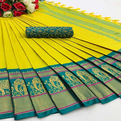 Gleaming Lemon Colored Festive Wear Woven Cotton Silk Saree