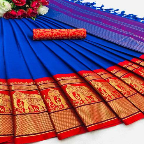 Mesmeric Blue Colored Festive Wear Woven Cotton Silk Saree