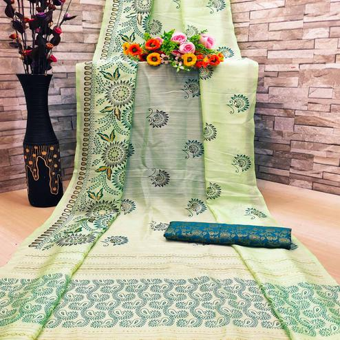 Demanding Green Colored Festive Wear Foil Printed Pure Linen Saree