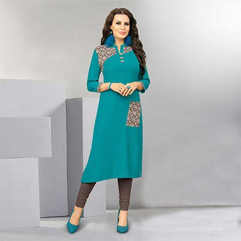 Classy Teal Colored Designer Casual Wear Cotton Kurti