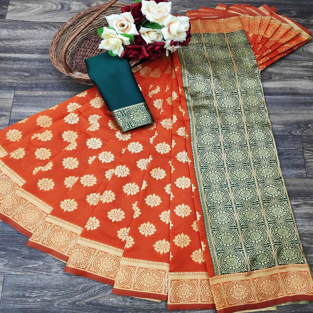 Flamboyant Orange Colored Festive Wear Woven Jacquard Saree