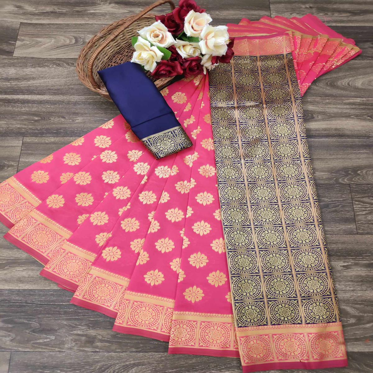 Pretty Pink Colored Festive Wear Woven Jacquard Saree