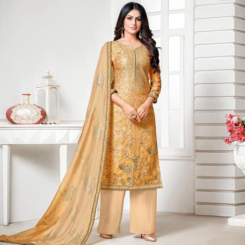 Alluring Mustard Yellow Colored Digital Printed Pure Muslin Silk Dress Material