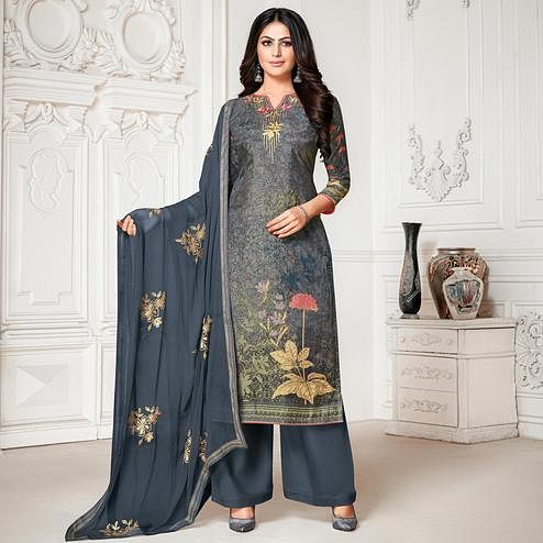 Sensational Dark Grey Colored Digital Printed Pure Muslin Silk Dress Material